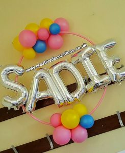 Hoop with Letter Balloons