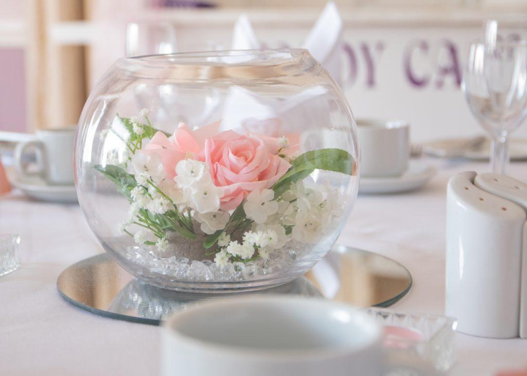 Pastel pink wedding centrepiece