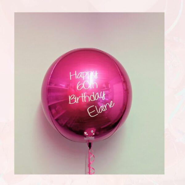 Personalised hot pink balloon