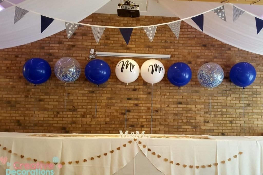 Giant blue wedding balloons