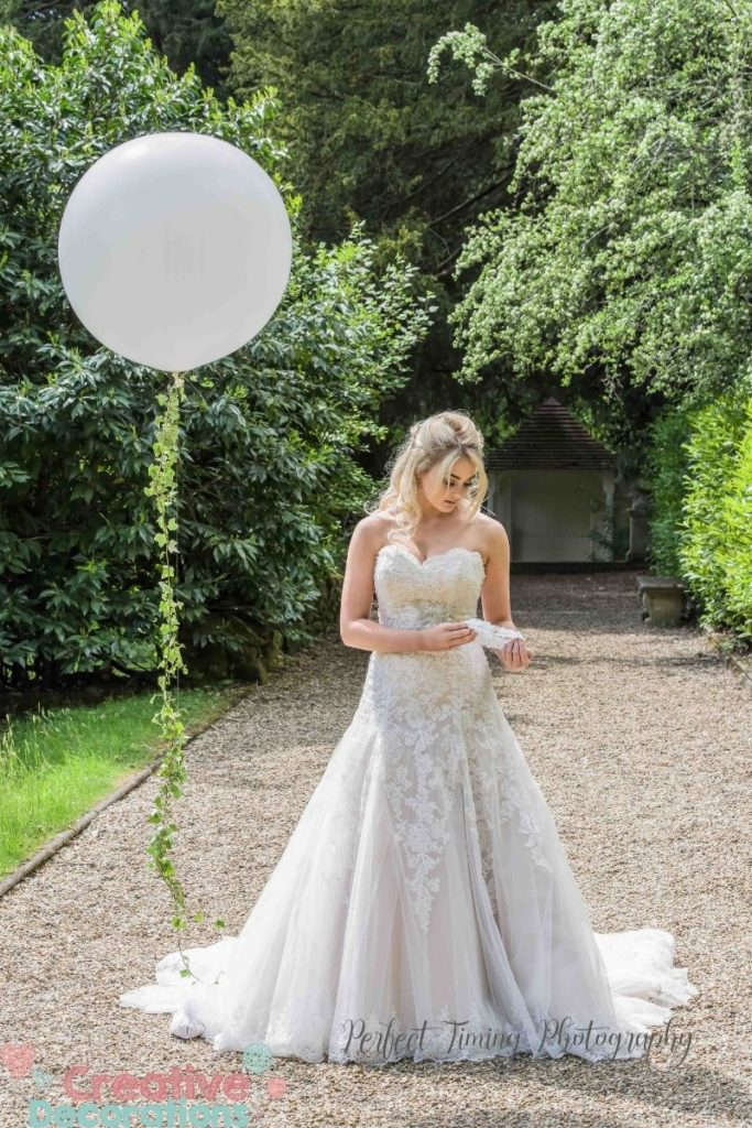 White giant wedding balloon with ivy