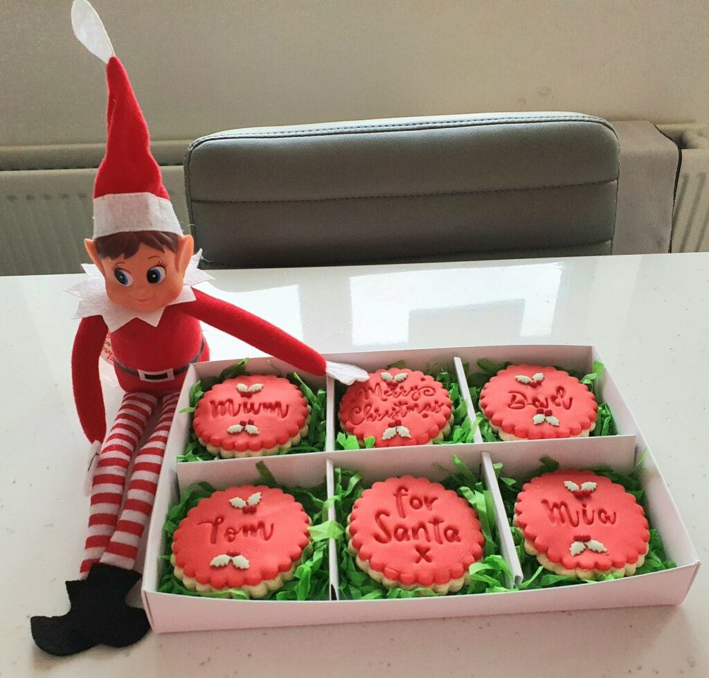 Elf with cookie box