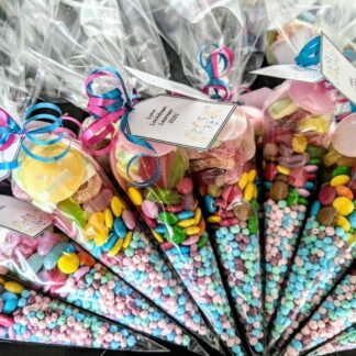 Sweet cones with tags